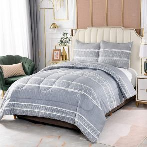 Shatex 2 Pieces Bedding Comforter Sets Stripes Pattern Printed Grey Comforter Set Twin Size with 1 Pillow Sham