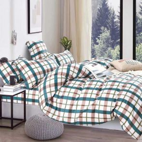 Shatex Twin Size Green Stripes Bedding Comforter Sets 2 Pieces with 1 Pillow Sham