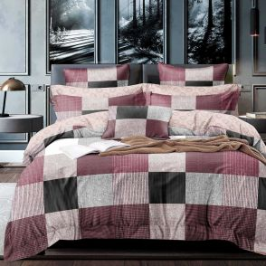 Shatex Twin Size Grid Brown Soft Bedding Comforter Sets 2 Pieces with 1 Pillow Sham
