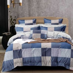 Shatex Twin Size Grid Blue Soft Bedding Comforter Sets 2 Pieces with 1 Pillow Sham